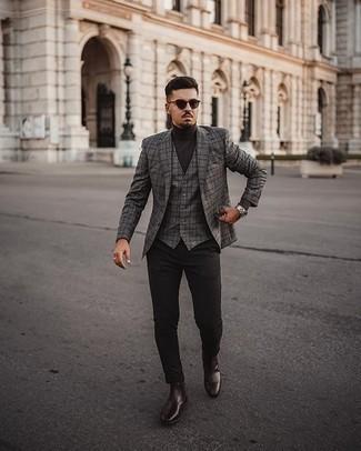 Dunkelbraunen Rollkragenpullover kombinieren – 142 Herren Outfits: Vereinigen Sie einen dunkelbraunen Rollkragenpullover mit einer schwarzen Chinohose, um einen lockeren, aber dennoch stylischen Look zu erhalten. Komplettieren Sie Ihr Outfit mit dunkelbraunen Chelsea Boots aus Leder, um Ihr Modebewusstsein zu zeigen.