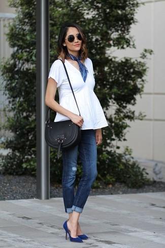 dunkelblaue enge Jeans mit Destroyed-Effekten von Philipp Plein