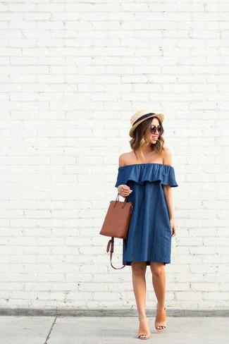 d3c12c755134 Blaues schulterfreies Kleid kombinieren (19 Kombinationen ...