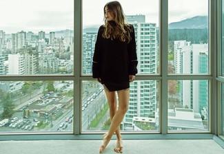 Schwarzer Strick Oversize Pullover, Schwarzer Minirock für Damen