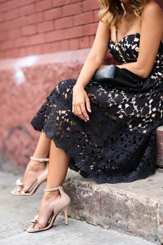 Schwarzes Kleid London Chi Ausgestelltes Aus Von Spitze H2IDE9W