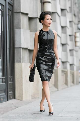 schwarzes Pailletten Etuikleid von AX Paris
