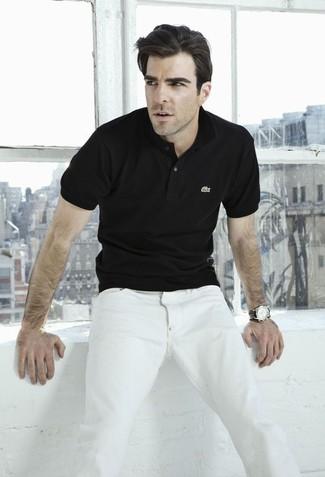 Schwarzes polohemd weisse jeans schwarze lederuhr large 12351