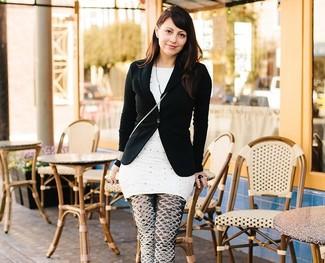 Schwarzes sakko weisse gepunktete tunika schwarze und weisse bedruckte leggings large 2364