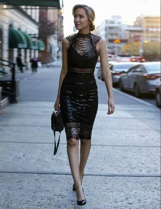 Entscheiden Sie sich für ein schwarzes verziertes spitze figurbetontes kleid, um einen schicken, glamurösen Look zu erhalten. Schwarze leder pumps von Anna Field bringen Eleganz zu einem ansonsten schlichten Look.