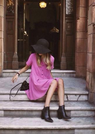 schwarze Leder Beuteltasche von Juicy Couture