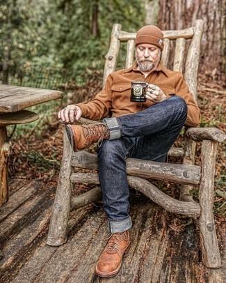 Braune Mütze kombinieren – 158 Herren Outfits: Kombinieren Sie eine braune Wollshirtjacke mit einer braunen Mütze für einen entspannten Wochenend-Look. Fühlen Sie sich mutig? Ergänzen Sie Ihr Outfit mit einer braunen Lederfreizeitstiefeln.