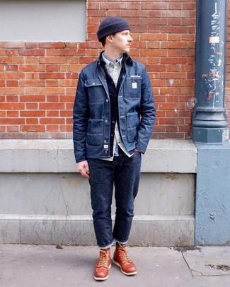 Wie kombinieren: dunkelblaue Jeansshirtjacke, dunkelblaue Jeansjacke, hellbeige Langarmhemd, graues Langarmhemd