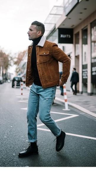 Braune Shirtjacke aus Cord kombinieren – 19 Herren Outfits: Entscheiden Sie sich für eine braune Shirtjacke aus Cord und hellblauen bedruckten Jeans für einen bequemen Alltags-Look. Schalten Sie Ihren Kleidungsbestienmodus an und machen schwarzen Leder Derby Schuhe zu Ihrer Schuhwerkwahl.