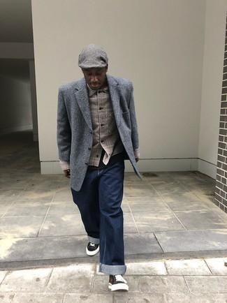 Graue Schiebermütze kombinieren – 270 Herren Outfits: Eine graue Shirtjacke mit Schottenmuster und eine graue Schiebermütze sind eine kluge Outfit-Formel für Ihre Sammlung. Schalten Sie Ihren Kleidungsbestienmodus an und machen schwarzen und weißen Segeltuch niedrige Sneakers zu Ihrer Schuhwerkwahl.
