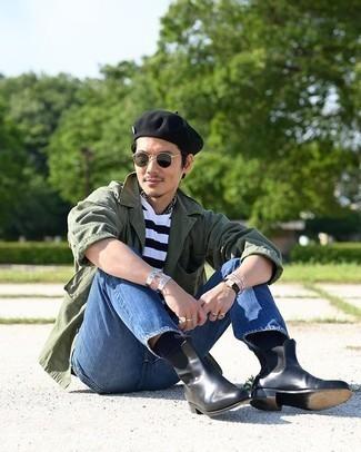 Olivgrüne Shirtjacke kombinieren – 346 Herren Outfits: Erwägen Sie das Tragen von einer olivgrünen Shirtjacke und blauen Jeans für einen bequemen Alltags-Look. Fühlen Sie sich ideenreich? Komplettieren Sie Ihr Outfit mit schwarzen Chelsea Boots aus Leder.