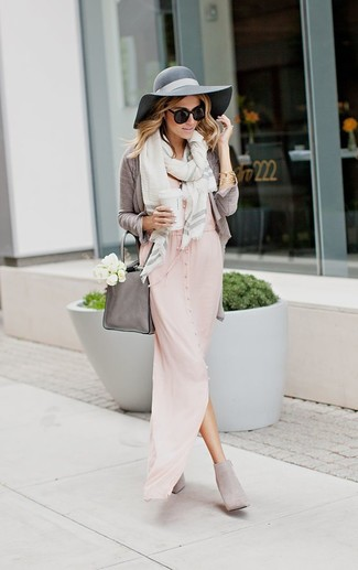 Langes rosa kleid kombinieren