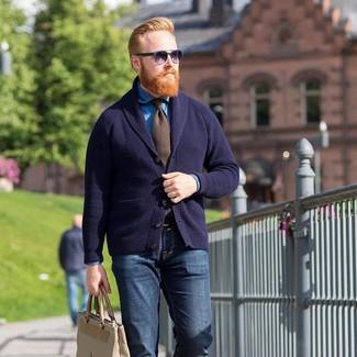 Welche Krawatten mit dunkelblauer Strickjacke mit einem
