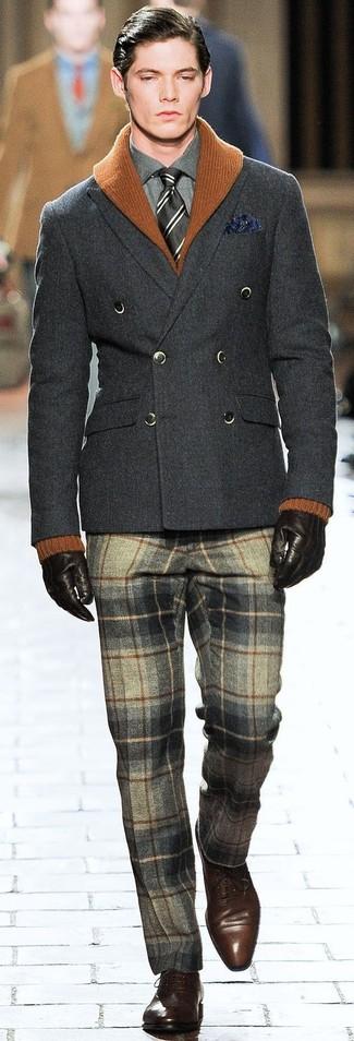 graue Wollanzughose mit Schottenmuster von next