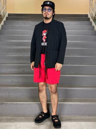 Schwarzen Segeltuchgürtel kombinieren – 164 Herren Outfits: Eine schwarze Strickjacke mit einer offenen Front und ein schwarzer Segeltuchgürtel sind eine gute Outfit-Formel für Ihre Sammlung. Fühlen Sie sich mutig? Wählen Sie schwarzen Sportschuhe.