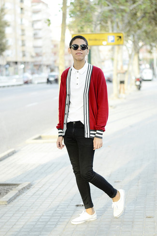 rote Strickjacke von Casamoda