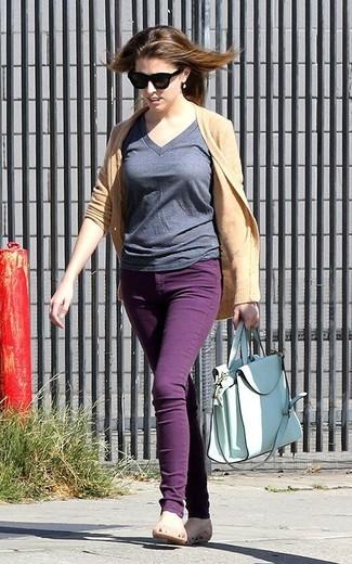 Strickjacke t shirt mit v ausschnitt enge jeans ballerinas shopper tasche large 1820