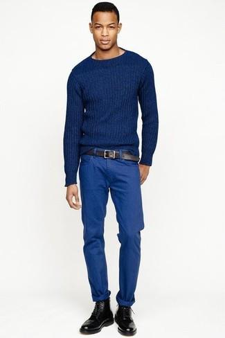 blauer Strickpullover von Crew Clothing