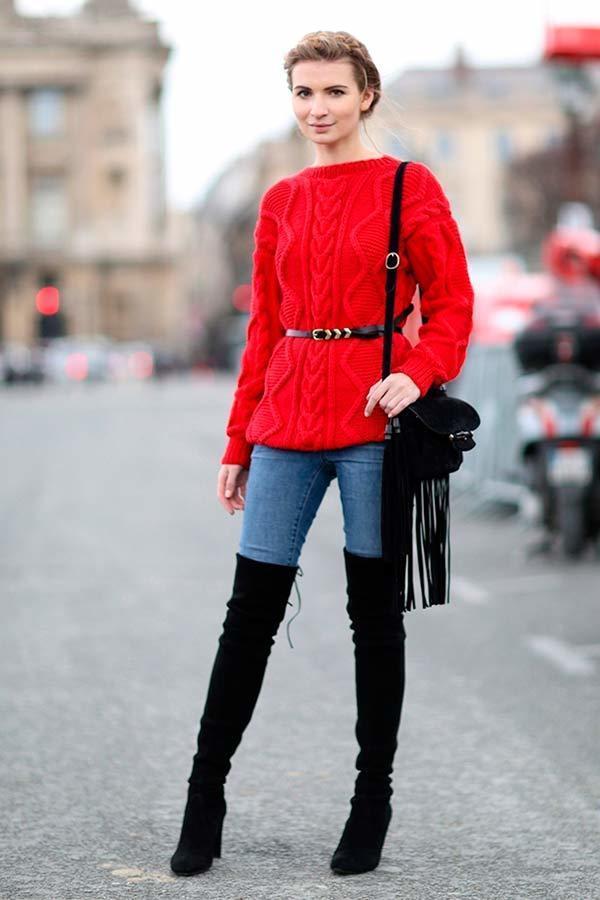Roter Roter Enge Overknee Enge JeansSchwarze StrickpulloverBlaue Roter Overknee JeansSchwarze StrickpulloverBlaue StrickpulloverBlaue TXkOPiZwul