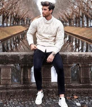 weißes Langarmhemd von Duke Clothing