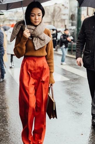 dunkelbraune Lederhandtasche von Marni
