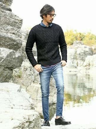 Welche Jeanshemden mit blauer enger Jeans zu tragen – 42 Herren Outfits: Für ein bequemes Couch-Outfit, tragen Sie ein Jeanshemd und blauen enge Jeans. Fügen Sie schwarzen Leder Derby Schuhe für ein unmittelbares Style-Upgrade zu Ihrem Look hinzu.