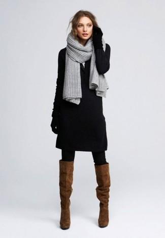 schwarzes kleid braune schuhe