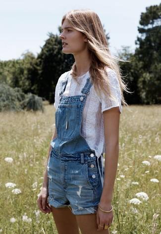 blaue kurze Latzhose aus Jeans von Madewell