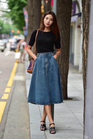 online retailer 88e62 65dc6 Midirock aus Jeans mit Falten kombinieren (2 Kombinationen ...