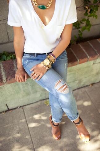 blaue enge Jeans mit Destroyed-Effekten von Noisy May