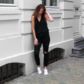 Schwarze jeans outfit