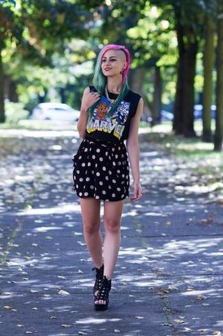 schwarzes bedrucktes Trägershirt von Givenchy
