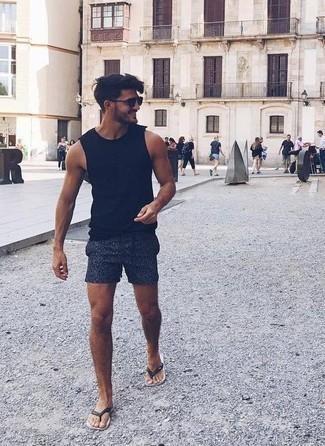 dunkelblaue bedruckte Shorts von Emporio Armani