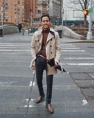 Dunkelblauen und grünen Anzug mit Schottenmuster kombinieren – 80 Herren Outfits: Kombinieren Sie einen dunkelblauen und grünen Anzug mit Schottenmuster mit einem hellbeige Trenchcoat für eine klassischen und verfeinerte Silhouette. Suchen Sie nach leichtem Schuhwerk? Wählen Sie braunen Chelsea Boots aus Leder für den Tag.