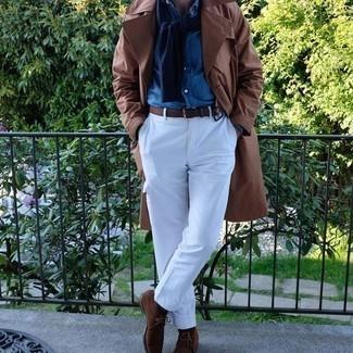 Braunen Ledergürtel kombinieren – 500+ Herren Outfits: Für ein bequemes Couch-Outfit, tragen Sie einen braunen Trenchcoat und einen braunen Ledergürtel. Komplettieren Sie Ihr Outfit mit braunen Chukka-Stiefeln aus Wildleder, um Ihr Modebewusstsein zu zeigen.