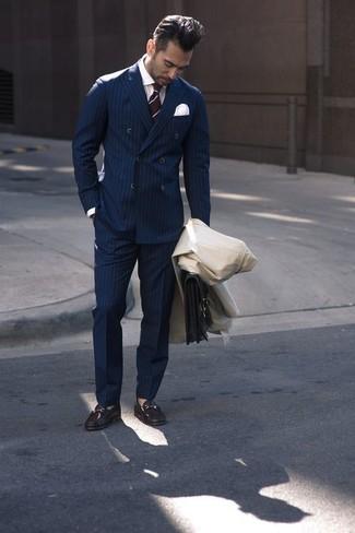 dunkelblaue vertikal gestreifte Anzughose von Ami