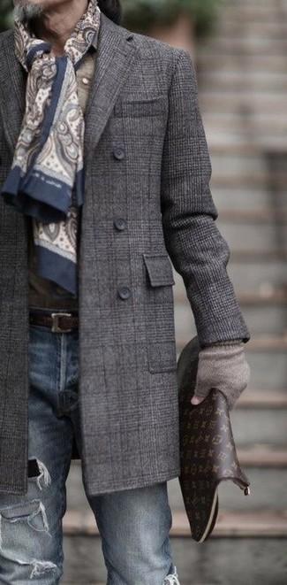 graue Wollhandschuhe von Saint Laurent