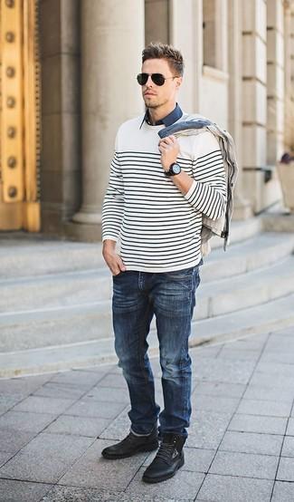 dunkelblaues Kurzarmhemd von Eddie Bauer