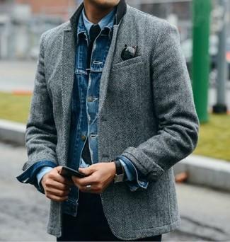 blaue Jeansjacke von Jack & Jones