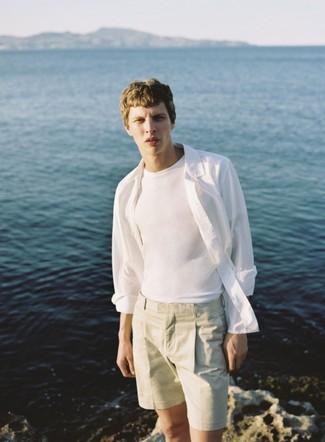 weißes T-Shirt mit einem Rundhalsausschnitt von Marc O'Polo