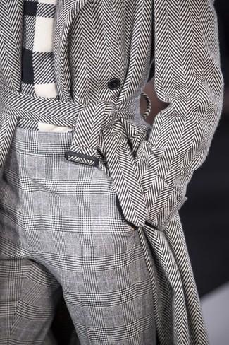graue Wollanzughose mit Hahnentritt-Muster von DSQUARED2
