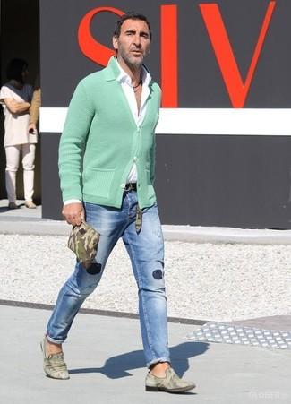 blaue enge Jeans mit Destroyed-Effekten von BLEND