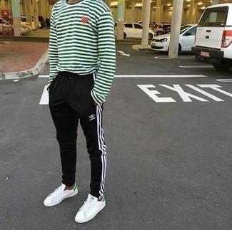 weiße und grüne Leder niedrige Sneakers von Axel Arigato
