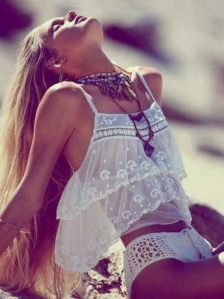weiße Häkel Bikinihose von Asos