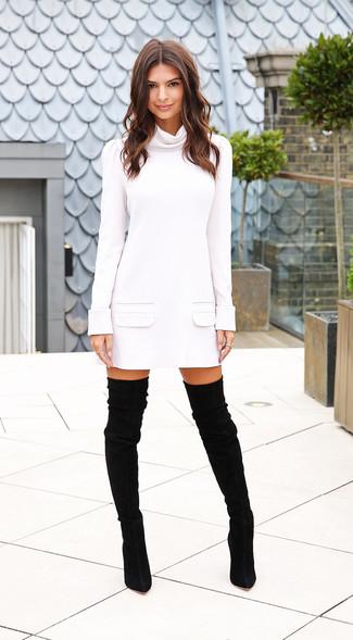 Weisses sweatkleid schwarze overknee stiefel aus wildleder large 15520
