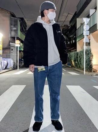 Grauen Pullover mit einem Kapuze kombinieren – 616+ Herren Outfits: Paaren Sie einen grauen Pullover mit einem Kapuze mit blauen Jeans, um einen lockeren, aber dennoch stylischen Look zu erhalten. Fühlen Sie sich mutig? Wählen Sie schwarzen Chukka-Stiefel aus Wildleder.