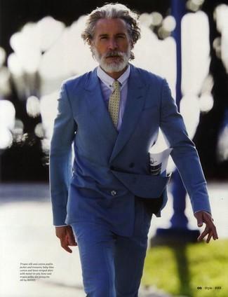 Zweireiher sakko blaues businesshemd hellblaues anzughose blaue krawatte gelbe large 2176