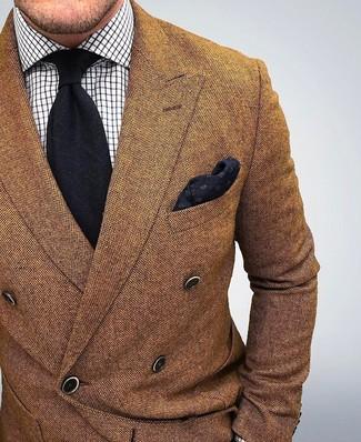 Braunes Wollzweireiher-sakko, Weißes Businesshemd mit Karomuster, Schwarze Krawatte, Schwarzes Einstecktuch für Herren