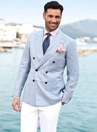 hellblaues Zweireiher-Sakko, rosa Businesshemd, weiße Anzughose, dunkelblaue Krawatte mit geometrischen Mustern für Herren
