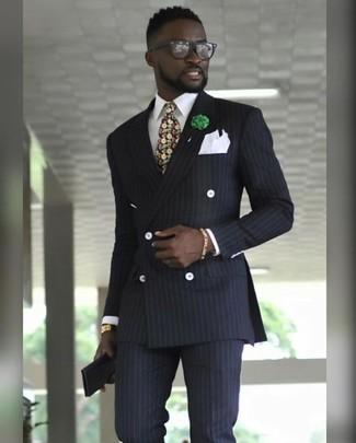 Wie kombinieren: schwarzes vertikal gestreiftes Zweireiher-Sakko, weißes Businesshemd, schwarze vertikal gestreifte Anzughose, mehrfarbige Krawatte